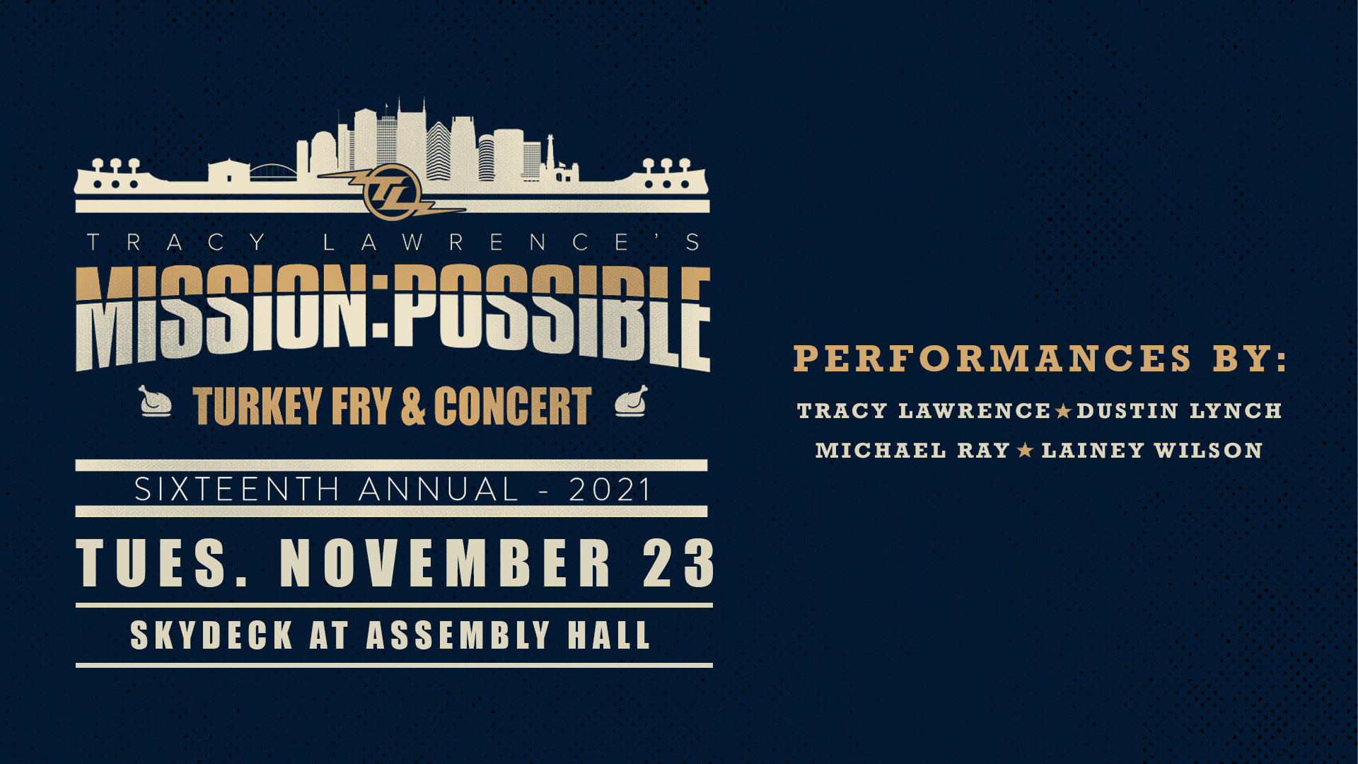 Promo image of Tracy Lawrence's Mission:Possible Turkey Fry Benefit Concert