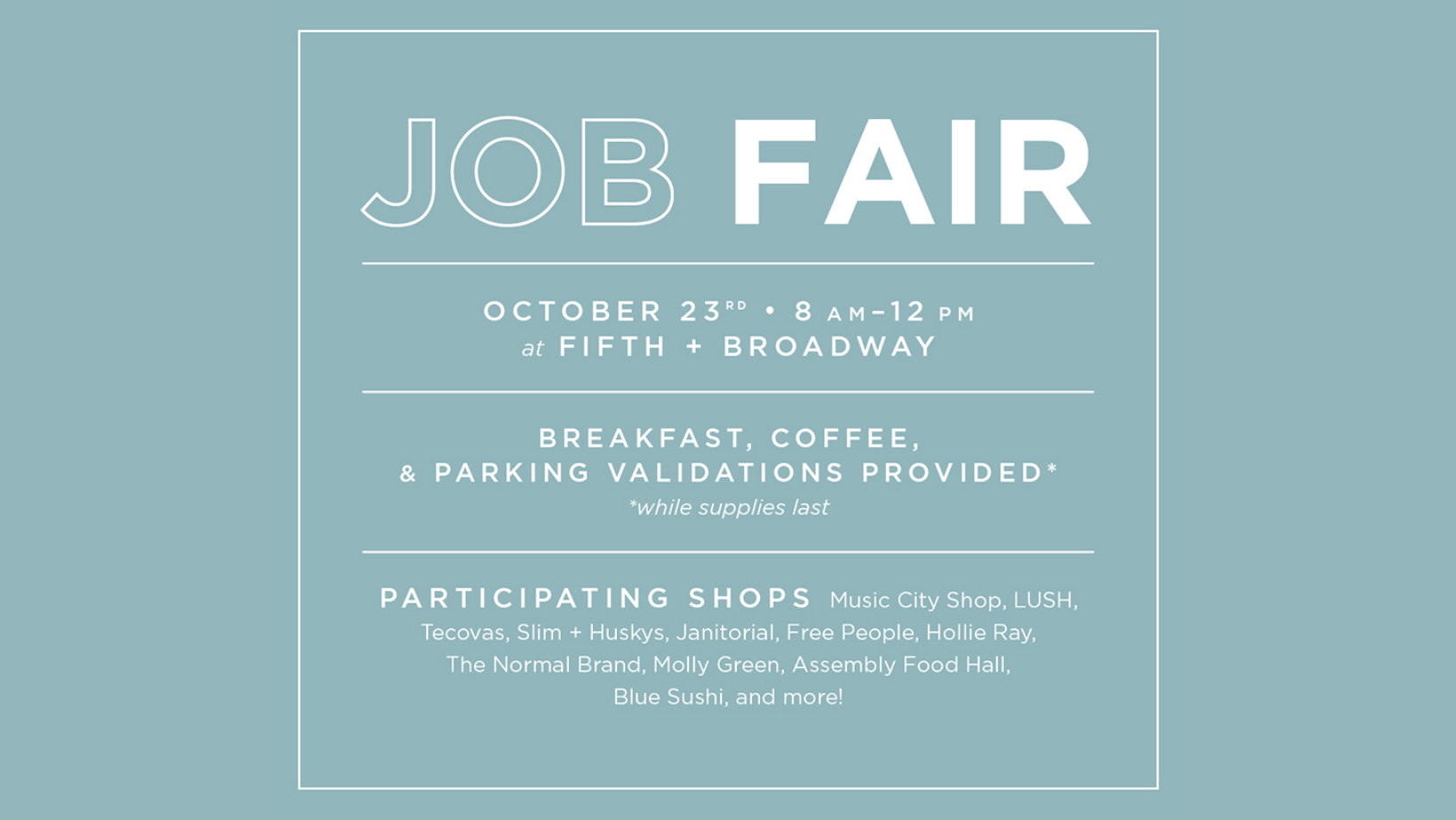 Fifth + Broadway Job Fair - hero